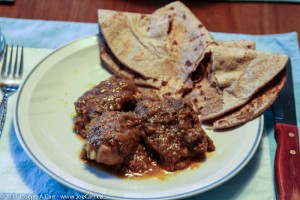 Curried chicken with roti