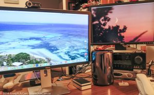 "My workstation: Apple Mac Pro with Dell 27"" 4k monitor, Dell 24"" HD monitor & WD 4Tb portable Thunderbolt drive"