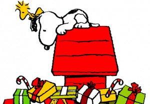 Snoopy on his doghouse with Christmas presents