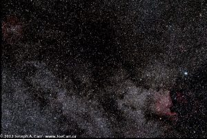 Dark & emission nebula north of Deneb in the Milky Way