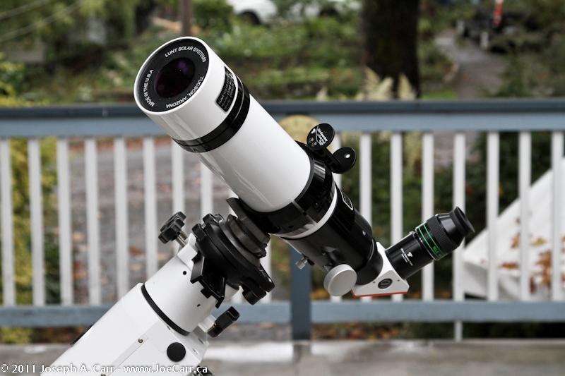 Lunt Ha solar telescope mounted on HEQ5 tracking mount