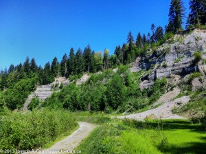 Eroding banks of Stoltz Bluff on the Cowichan River