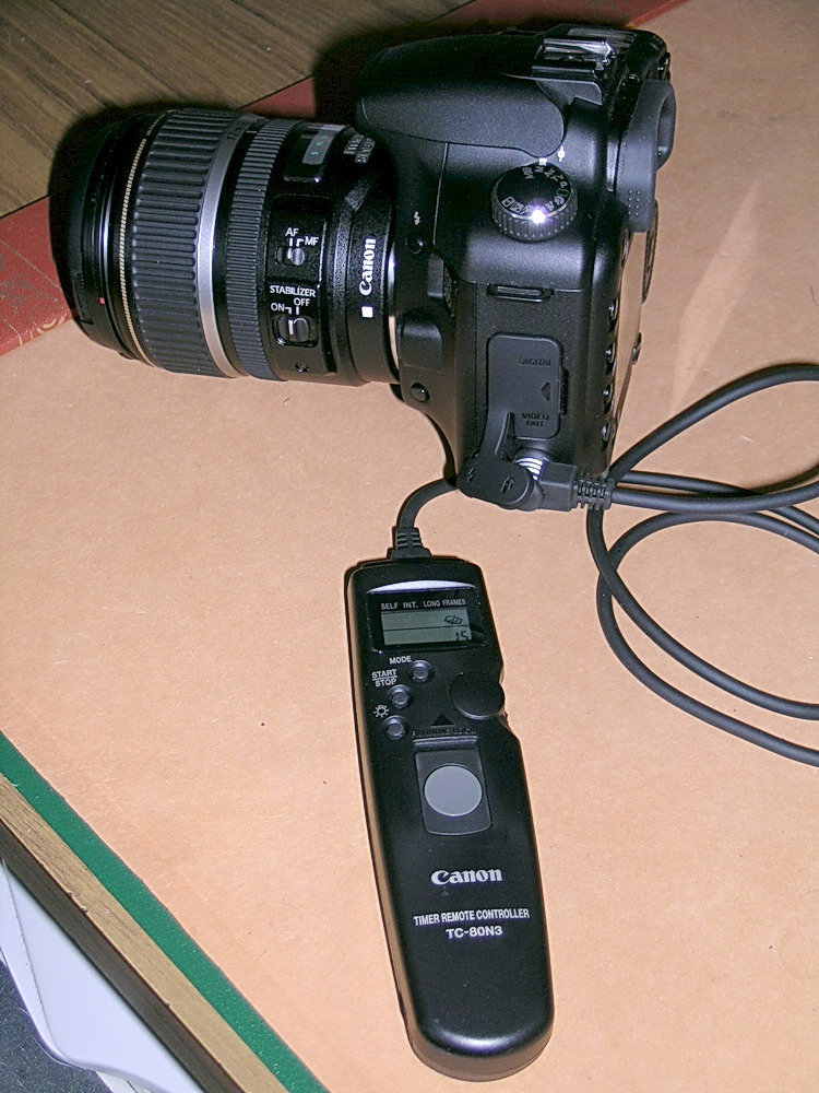 Canon TC-80N3 Intervalometer attached to a camera
