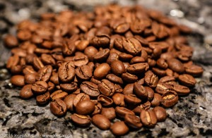 Coffee beans on a granite countertop