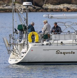 Sequoia waiting in Victoria's outer harbour with Craig, Mark and Chip aboard