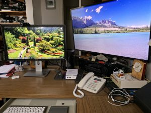 "Dell 27"" IPS 4k main monitor, Apple Mac Pro, Samsung 40"" 4k display"