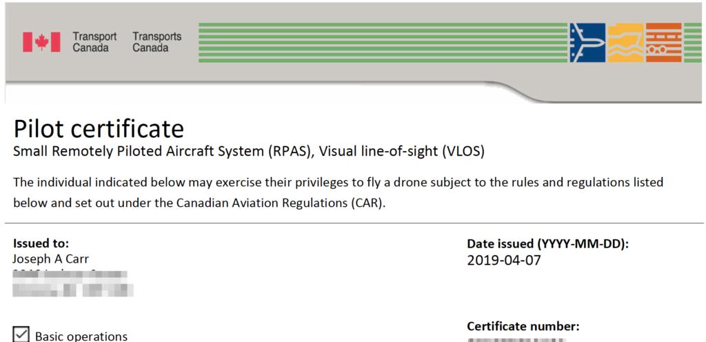 Joe's drone pilot certificate