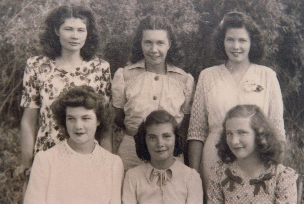 Beasley sisters 1947 - Jessie, Erma, Joy (L-R back), Yvonne, Maxine, Violet (L-R front)