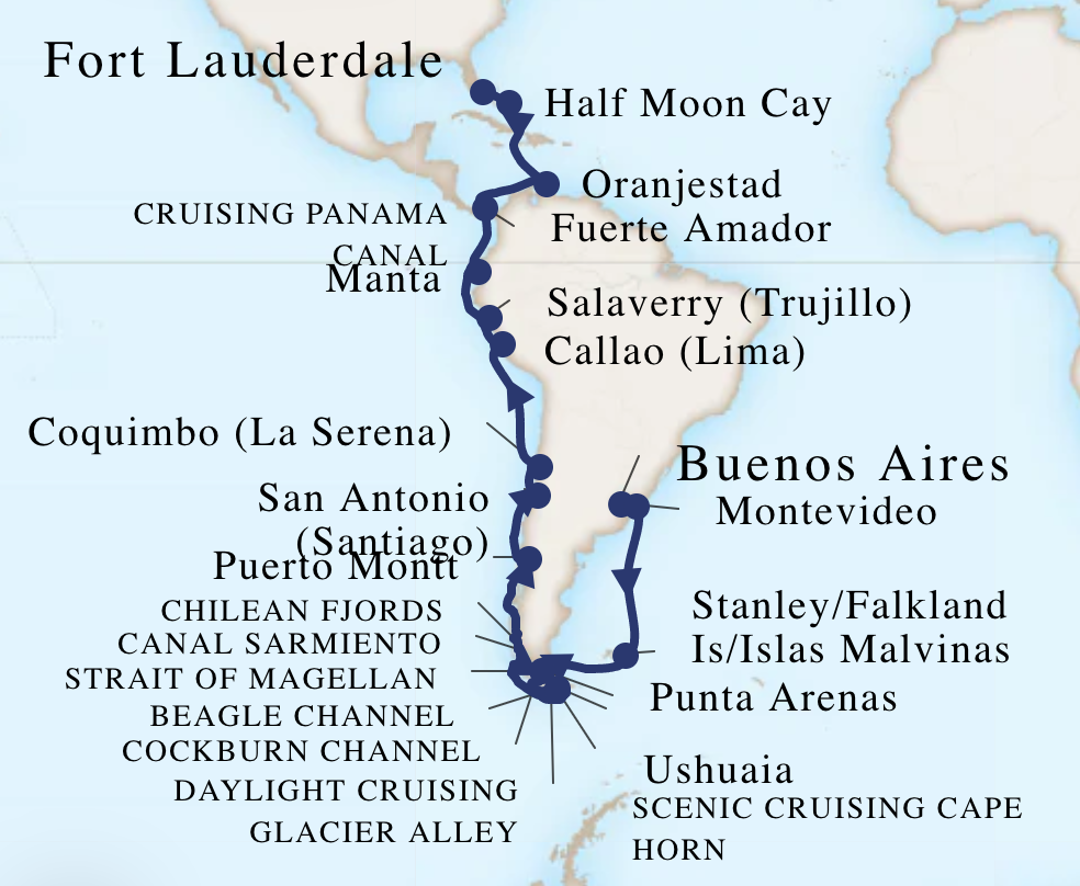Original route map for 2020 South America cruise